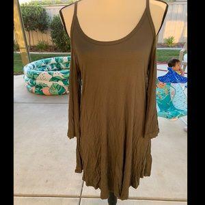 Open shoulder 3/4 length bell sleeved khaki dress